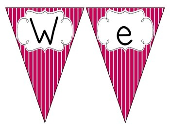 Brilliant Berry Stripes Welcome Pennant