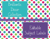 Brilliants Decor: Editable Subject Labels