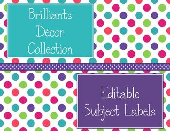Brilliants Decor: Editable Subject Labels
