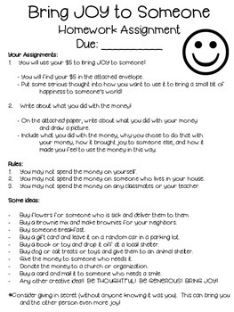Bring JOY Homework Assignment ~ Random Act of Kindness FREEBIE