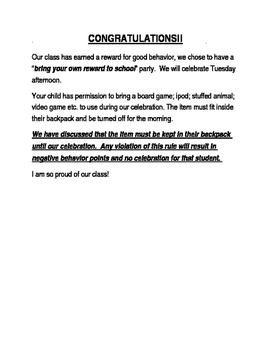 Bring Your Own Reward Letter