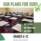 Sub Plans for Subs No Copy Emergency Plans For 6-12