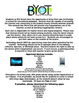 Bring Your Own Technology (BYOT) Parent Information Letter