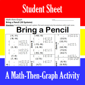 Bring a Pencil - A Math-Then-Graph Activity - Solve 30 Systems