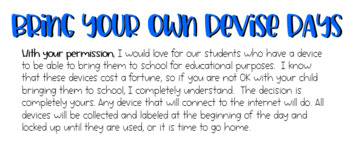 Bring your own Device BYOD permission slip
