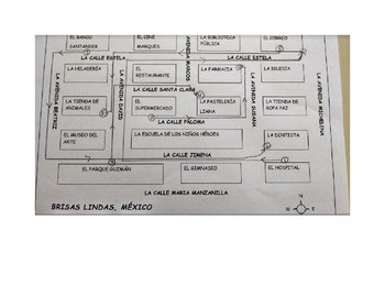 Brisa Linda Mexico Map, Directions, Puntos Cardinales Spanish Practice Activity