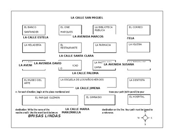 Brisa Linda Mexico Map, Directions, Puntos Cardinales Spanish Practice Activity