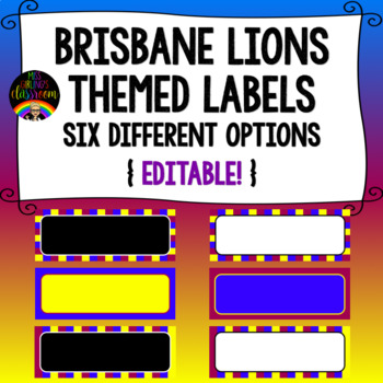 Brisbane Lions Themed Labels {Editable!}