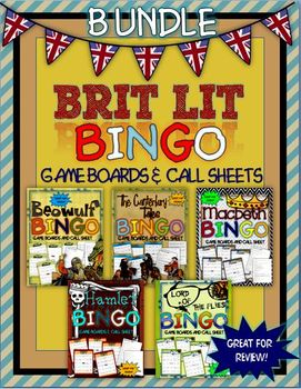 BRIT LIT BINGO BUNDLE: INSTRUCTIONS, GAME BOARDS AND CALL SHEET