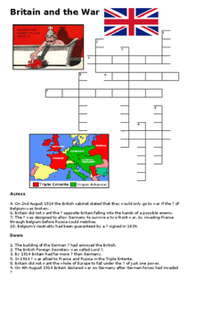 Britain in 1914 World War One Crossword