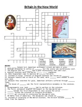 British Colonies in the New World Crossword or Web Quest