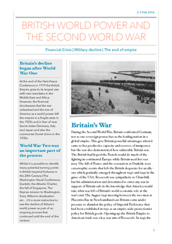 Britain's World Role after World War Two