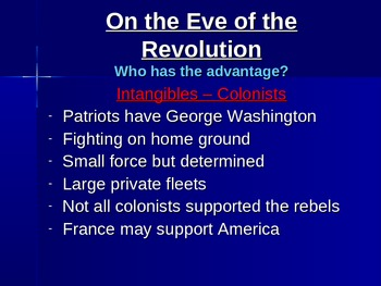 Britain vs. The Colonies - On the Eve of the Revolution