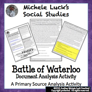 British Account of Waterloo & Napoleon Primary Source Analysis Activity