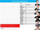 British Actors Wordsearch Sheet Starter Activity Keywords Drama