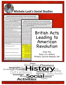 British Acts Leading to American Revolution Document Analysis Activity