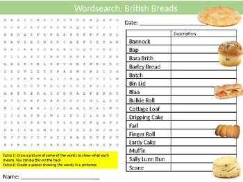 British Breads Wordsearch Puzzle Sheet Keywords Food Science Health Nutrition