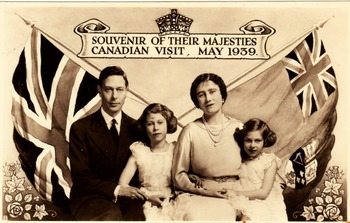 British Canadian Propaganda: digital print of a postcard from 1939 Royal Visit