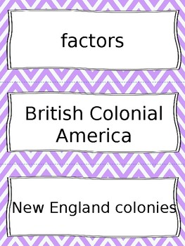 British Colonial America Vocabulary Cards - SS3H3