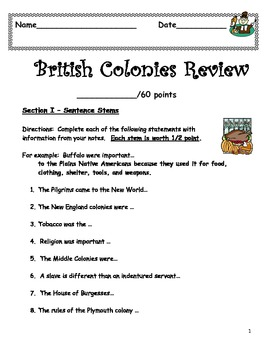 British Colonies Reivew Sheet