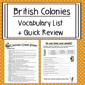 British Colonies Vocabulary List and Practice Test