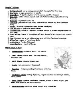 British Colonies Vocabulary List