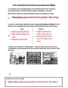 British Colonization Quiz - Performance Assessment
