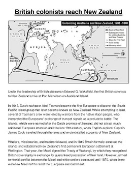 British Colonize New Zealand Article and Assignment