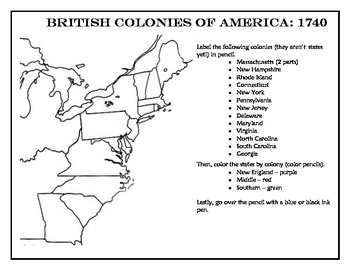 13 Colonies (British Colonies) Political Map and Directions Sheet