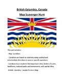 British Columbia, Canada Map Scavenger Hunt