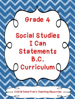 British Columbia Grade 4 Social Studies I Can Statement Posters