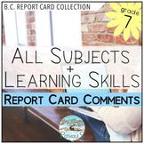 British Columbia Report Card Comments Bundle - Grade 7