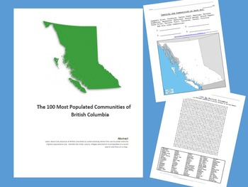 British Columbia - Word Search of Communities