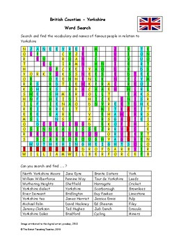 British Counties - Yorkshire - Word search(PDF)