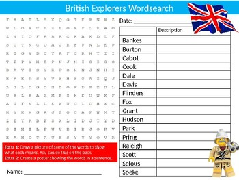 British Explorers Wordsearch Sheet Geography Exploration Activity Keywords