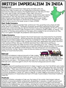 British Imperialism in India Reading Comprehension Worksheet, Colonialism