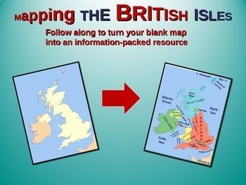British Isles Map Activity: Fun, engaging follow-along 25-slide PPT