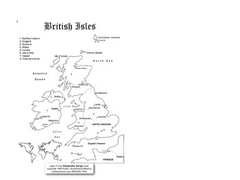British Isles Song pages pdf from Geography Songs Book + Tests by Kathy Troxel