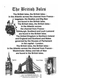 British Isles Song pages pdf from Geography Songs Book + T