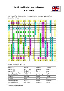 British Kings and Queens - Word Search (PDF)