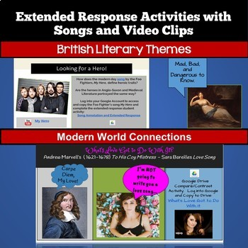 British Literature Activities, Bell Ringers, and Projects Bundle