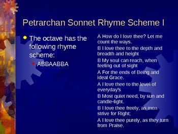 British Literature: The Petrarchan (Italian) Sonnet Lecture Notes and Activity