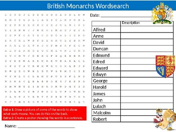 British Monarchs Wordsearch Sheet History Kings & Queens Starter Keywords