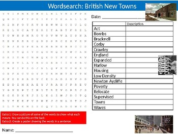 British New Towns Wordsearch Puzzle Sheet Keywords Geography