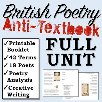 British Poetry Printable Unit Booklet (Poems + Poets + Terms + Creative Writing)