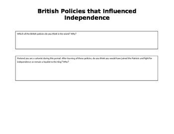 British Policies that Influenced Independence Timeline