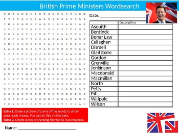 British Prime Ministers Wordsearch Puzzle Sheet Keywords Politics Leaders