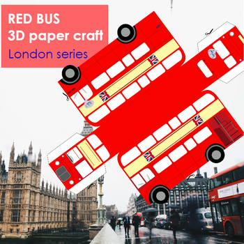 British Red Bus 3D paper craft (customizable)