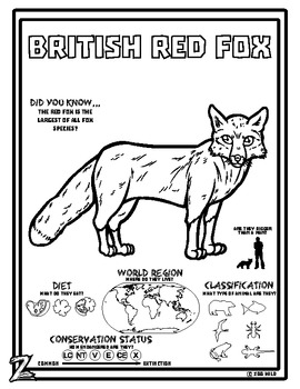 Red Fox -- 10 Resources -- Coloring Pages, Reading & Activities
