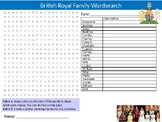 British Royal Family Wordsearch Sheet Activity Keywords History Celebrity